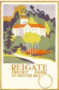 Vintage English poster - Reigate, London bus poster